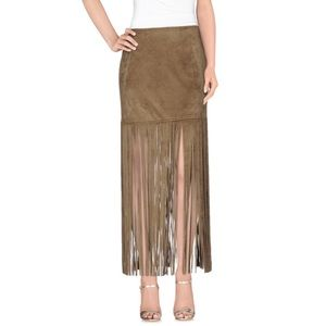 Unreal Fur Fringe Faux Suede Skirt Ginger Size S